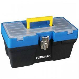 Caja de herramientas de plástico con broche de metal 16″