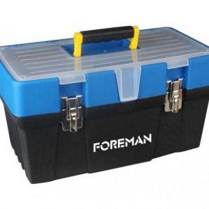 Caja de herramientas de plástico con broche de metal 19″
